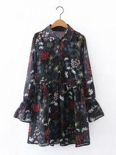 dae9a5ec4b4 Fairymenco Vestido camisero con estampado floral y camisa vintage