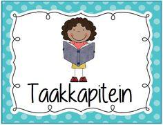 Coöperatieve klastaken kaartje: taakkapitein. Polka dot © Sarah Verhoeven School Organisation, Primary School, Spelling, Classroom, Teacher, Poster, Class Room, School Organization, Elementary Schools