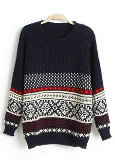 Navy Blue Geometric Round Neck Loose Wool Sweater - Pullovers - Sweaters - Tops