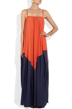 Halston Heritage|Two-tone georgette maxi dress|NET-A-PORTER