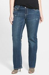 Seven7 Slim Bootcut Jeans with Embroidered Flap Pockets (Blue) (Plus Size)