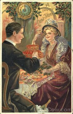 "An American Gilded Age era couple, toasting with Champagne as they ring in the New Year. ""A Happy New Year"", wall clock stricking the midnight hour. Late 19th-century postcard. ~ {cwl} ~ (Image: Card Cow)"