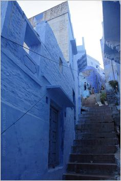 Blue street in Jodhpur, India    So deep... almost purple...