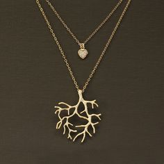 Double Strand Layered Gold Coral Branch and Heart Necklace. $38.00, via Etsy - really, I kind of want to buy this entire shop.