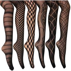 Elegant Assorted Fishnet Lace Tights ($20) ❤ liked on Polyvore featuring intimates, hosiery, tights, black, lace stockings, fishnet pantyhose, lace pattern tights, print tights and black pantyhose