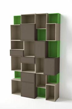 contemporary modular shelf in MDF - Desinger-Wandregal Zweifarbig - ArchiExpo