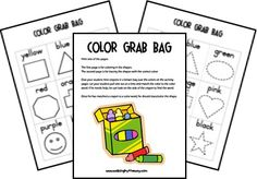 Color Grab Bag Printables for learning color sight words