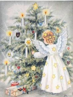 Christmas vintage card -- by Hannes Petersen Vintage Christmas Images, Retro Christmas, Christmas Tag, Christmas Pictures, Christmas Angels, Christmas Greetings, Illustration Noel, Christmas Illustration, Christmas Clipart
