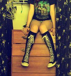 Emo converse knee high socks xxx