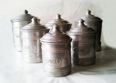 Set of 6 Vintage French white metal aluminium kitchen canisters