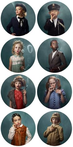 Smoking Children by Frieke Janssens, a thought provoking juxtaposition of the glamour vs reality of smoking and its effect on our culture. Also, I just want these on my wall because they are super weird. Don't worry, none of the kids were actually smoking.