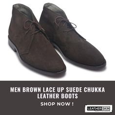 Surely a sense of richness and luxury, these brown lace-up suede chukka leather boots are all you need, men. The premium high-quality leather used in these leather boots can provide you the best of the comfort. If you want to be a prime focus in a gathering, this chukka leather boots have got enough potential to make you one. Crafted in a manner to make your class apart from others and uplift your personality. You can be smart, but you can only be stylish when you have your feet in them. Suede Leather Shoes, Suede Boots, Boot Shop, Brown Suede, Personality, Lace Up, Luxury, Stylish, Men