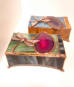 Stained glass jewelry box with dragonfly de BatiskafoCrafts en Etsy