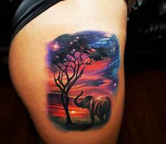 Perfect 3 colors realistic tattoo style of Sunset in Africa motive done by tattoo artist Tyler Malek Cool Tattoos, Elephant Tattoos, Body Art Tattoos, Sky Tattoos, Tattoo Style, Sunset Tattoos, Beautiful Tattoos, Popular Tattoos, Africa Tattoos