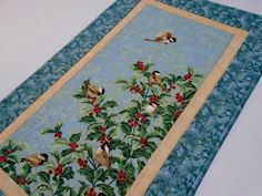 Elegant Quilted Table Runner with Chicadees by ForgetMeNotQuilteds