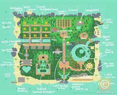 Animal Crossing Wild World, Animal Crossing Guide, Disney Island, Lake Animals, Japanese Animals, Map Layout, Island Map, Fantasy Island, Animal Games