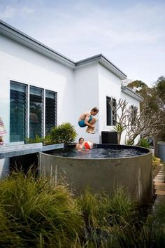 And up pops the pool next to our house! 12 Small Pools for Small Backyards Small Backyard Pools, Small Pools, Small Backyards, Sloped Backyard, Backyard Ideas, Pool Spa, Ideas De Piscina, Outdoor Spaces, Outdoor Living