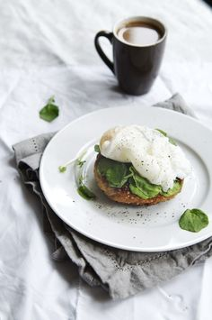 {Poached egg and coffee for breakfast.}
