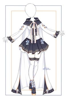 Manga Clothes, Drawing Anime Clothes, Dress Drawing, Kawaii Clothes, Anime Outfits, Mode Outfits, Dress Design Sketches, Fashion Design Drawings, Hero Costumes