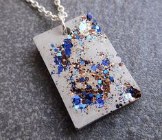 Concrete necklace with gold black and blue glitter / concrete