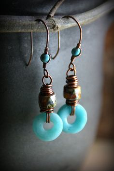 Vintage Venetian Glass and Copper Earrings by AllowingArtDesigns, $26.00