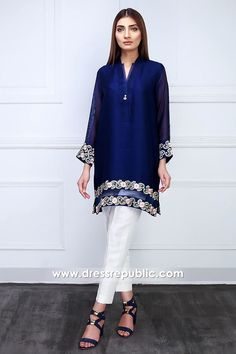 Color: Royal Blue Fabric: Raw silk Work Details: Embroidered PRODUCT DETAILS A royal blue, cotton net shirt designed with embroidery on the hemline and sleeve cuffs. Simple Pakistani Dresses, Pakistani Party Wear Dresses, Pakistani Dress Design, Pakistani Outfits, Stylish Dress Designs, Stylish Dresses, Casual Dresses For Women, Fashion Dresses, Sleeves Designs For Dresses