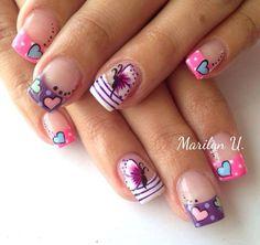 Striped Nails for Valentines Beautiful Nail Designs, Beautiful Nail Art, Gel Nail Art, Acrylic Nails, Love Nails, Fun Nails, Striped Nails, Toe Nail Designs, Bridal Nails