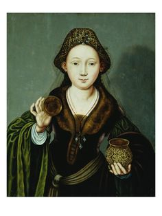Saint Mary Magdalene Holding an Ointment Jar by Master of the Mansi Magdalene .(c1490 – 1530) an Early Netherlandish painter.