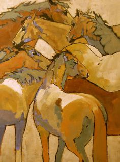 """Caballo Chaos"" 40 x 30 acrylic on canvas Mary Williams Fine Arts. Boulder, CO"