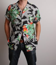 large parrot jungle mens Hawaiian shirt black grey and rainbow button up tourism travel top mans vintage clothing by furhatguild on Etsy Vintage Hawaiian Shirts, Mens Hawaiian Shirts, Aloha Shirt, Vintage Outfits, Vintage Clothing, Shirt Style, Colorful Shirts, Black And Grey, Men Casual