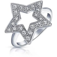 Bling Jewelry Star Shine Ring ($33) ❤ liked on Polyvore featuring jewelry, rings, clear, christmas ring, star ring, polish rings, pave ring and clear jewelry
