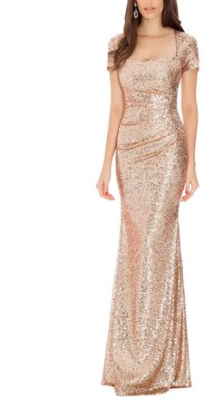 Delilah Champagne Sequin Gown - Square Neckline - Rose Gold Sequins - Cap Sleeves - Inside Lining - Brand: City Goddess London Evening Dresses, Prom Dresses, Formal Dresses, Teen Dresses, Midi Dresses, Pretty Dresses, Beautiful Dresses, Rose Gold Dresses, Rose Gold Gown