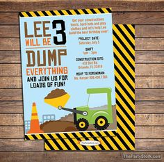 Construction Birthday Party Invitation  Printable by thepartystork