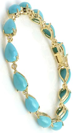17.74 ctw Turquoise Cabochon Pear & 0.15 ctw Diamond 14K Yellow Gold Bracelet Length 7.5 in