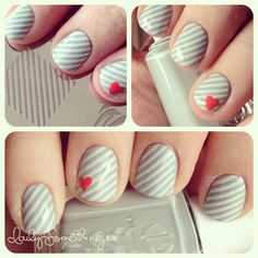 gray and white stripes and heart nail art