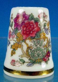 Vintage PARAGON Fine Bone China THIMBLE Peony Flowers  Scrolls