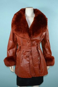 Vintage 60s 70s Cayenne Leather + Shearling Collar + Cuffs Coat, Penny Lane Boho Leather Jacket M