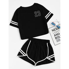 Crop Varsity T-shirt And Contrast Binding Notch Shorts Set (76 BRL) ❤ liked on Polyvore featuring tops, black, crop top and cut-out crop tops