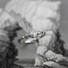 Image of SOLD platinum rose-cut 3.9mm diamond trilogy ring (IOW10)