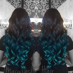 black+into+blue+ombre+for+long+hair