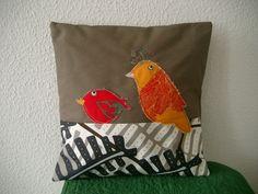 Patchwork Kissenhülle mit Vögel von Nähwittchen auf DaWanda.com