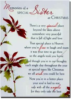 To my sister. Merry Christmas in Heaven. Loss Of A Sister, I Miss My Sister, Dear Sister, Sister Sister, Brother, Lil Sis, Sister Poems, Sister Quotes, Husband Quotes