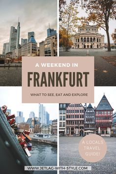 Here's a complete Travel Guide for a perfect weekend in Frankfurt am Main, Germany. Everything about the most famous sights, what to do and eat and some insider tips! Including some free printables!! Frankfurt am Main Germany / Weekendtrip / Wochenendtrip / Frankfurt things to do / What to do in Frankfurt / Frankfurt attractions / Frankfurt spots / Frankfurt restaurants / frankfurt local /ffm / Frankfurt Airport / Römer / Eiserner Steg / Rhein Main Gebiet / Städtetrip