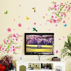 Large ay9158 Elegant Flower Wall Stickers Graceful Peach Blossom birds Wall Stickers Furnishings Romantic Living Room Decoration