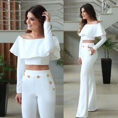 Women Floral Ruffle Hot Sexy Outfit Two-piece Off Shoulder Crop Top & Pants Set White Outfits, Casual Outfits, Fashion Outfits, Womens Fashion, Casual Dresses, Vetement Fashion, Look Chic, White Fashion, Couture Fashion