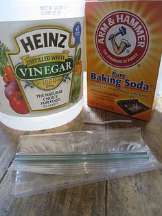 """Clean Showerheads...  -1/3 cup baking soda  -1 cup white vinegar  -1 plastic bag  -1 large bag twisty tie  1) Mix soda and vinegar in bag over sink. Caution: pour vinegar slowly as there is an """"explosive"""" foaming action that kicks in.  2) Place bag over shower head and secure with twisty tie. Let soak overnight or at least 2-3 hours. Wipe shower head off prior to use."""