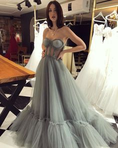 Elegant Sweetheart neck Tulle Long Prom Dress, Grey Evening Dress T1793