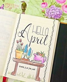 "240 Likes, 8 Comments - Rita • Hand Lettering • (@writeitonthewall) on Instagram: ""HELLO APRIL! ☀️🌷 new month, new tracker, new doodles, new planner! #april  #bulletjournal…"""