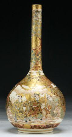 A Japanese Antique Gilt Satsuma Porcelain Vase; Japan / Japanese Antiques : More At FOSTERGINGER @ Pinterest ⚫️
