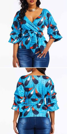 afrikanische mode V-Neck Color Block Print Three-Quarter Sleeve Women's Blouse Short African Dresses, African Blouses, African Fashion Designers, Latest African Fashion Dresses, African Print Dresses, African Print Fashion, African Tops For Women, Blouses For Women, African Attire